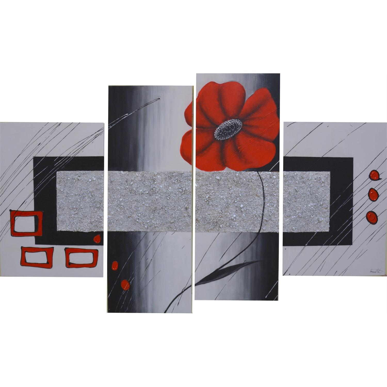 Quadro moderno astratto rosso floreale modulare | Quadri | Arte e ...